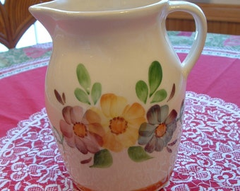 Very Nice Vintage Ohio Pottery Large Flowered Beverage Pitcher