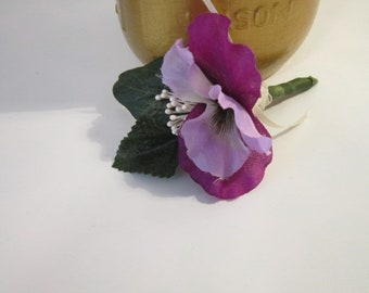 boutonniere, groomsman, prom date, pansey boutonniere, vintage inspired, Father of the Bride or Groom, mans pin, timelesspeony