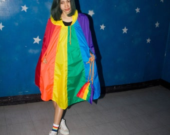 Rainbow waterproof rain poncho, Cape with hood, Nylon rain jacket, with Free rainbow bag.