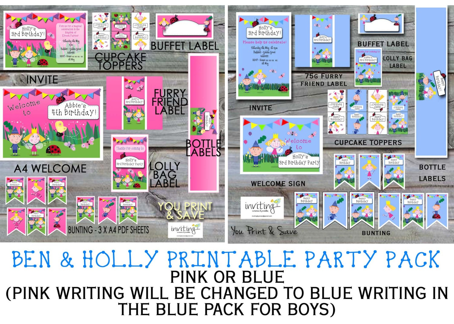 NEW Ben and Holly Little Kingdom Printable Party Pack Pink