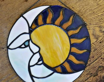 Moon and Sun, stained glass wall hanging, Sun catcher