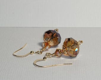 Swarovski Crystal Earrings. Crystal Copper Earrings. 14K Gold Filled Swarovski Earrings. Dressy. Sparkly. Swarovski Dangle Earrings.