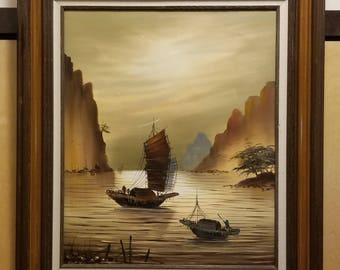 Vintage Asian Chinese Moonlight Fishing Junk Boats in Harbor Bay Oil Painting On Canvas
