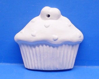 Cupcake With Hearts Ornament/DIY/Ready To Paint/Plaster/WhiteWare/ChalkWare/PlasterCraft #236
