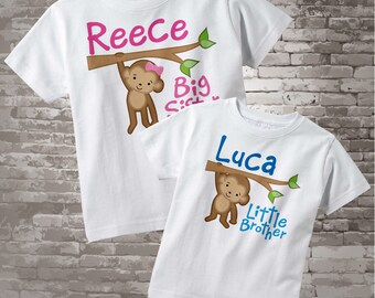 Big Sister Little Brother Shirt set of 2, Sibling Shirt, Personalized T-shirt or Onesie with Cute Monkeys 12242013a