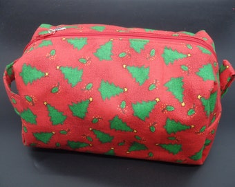 Christmas Travel Bag, Holiday Makeup Bag, Dopp Kit, Zip Pouch, Ditty Bag, Toiletry Kit, Shave Kit, Cosmetics Bag, Gifts Under 20
