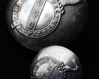 Rare Irish Livery Buttons to the Waring Family Made by Clancy & Co Dublin. Silver Plate the Large Button is 26.5mm Smaller 16mm.
