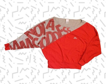 Nike Longsleeved 'I Am Not A Goddess' Red and Heather Gray Crop Top