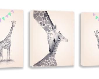 Giraffe Nursery Decor, Baby Girl Nursery Art, Set of Three Canvases, Animal Nursery Decor, Watercolor Giraffe Prints - S053B