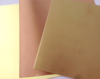 "20G, 22G or 24G Copper, Brass or Red Brass Sheet  6"" x 6"" FREE SHIPPING"