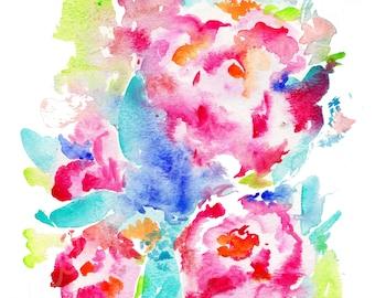 watercolor peonies, peonies, watercolor flowers, galentines day, valentine art, springtime, spring flowers, bridal art, bridal flowers,