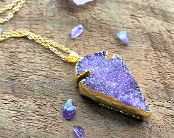 Lila Druzy Pfeilspitze roh Quarz Halskette Gold Quarz Kristall Punkt Charms Anhänger heilende Kristall metaphysischen Reiki-New-Age-Böhmisch