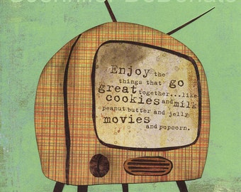 Movie and Popcorn Art Print