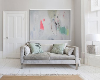 "large WHITE abstract PRINT, Giclée print of painting, pink, green, ""Her Ladyship"""