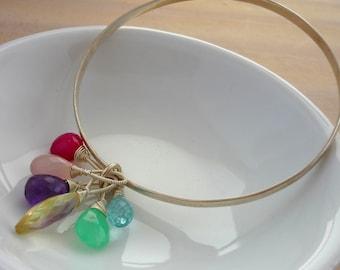Sterling silver & multi gemstone briolette bangle. stacking bangle.