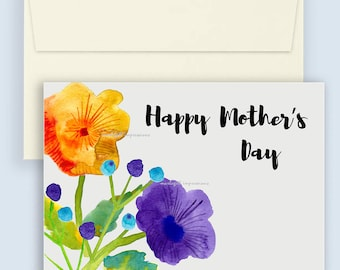 Instant Download Mother's Day Card. Watercolour flowers for Mother's Day