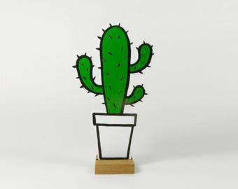 Handpainted Cowboy Cactus.  Funny shape. No sharp thorns!