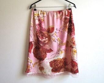 Pink Brown Floral Print Skirt Elastic Waist Skirt Jersey A-Line Skirt Medium Size Skirt Baroque Roses Print