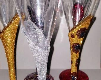 Glitter stem plastic champagne flutes / set of 6