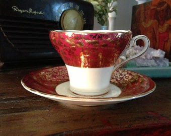 Antique Aynsley Golden Ruby Red Teacup and Saucer Made in England