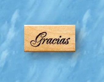 Gracias mounted rubber stamp, Spanish Thank you, greeting, sello de goma, Sweet Grass Stamps No.21