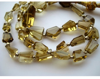 AAA Gems, Beer Quartz Beads, Faceted Nugget Beads, Faceted Beer Quartz, 5mm To 18mm, 18 Inch Strand, 36 Pieces Approx