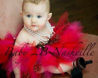 Red and Pink Baby Cheetah Tutu Perfect for Portraits