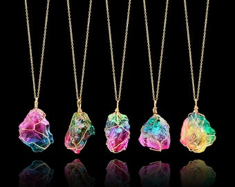Rainbow Stone Necklace & Pendant Natural Crystal FREE SHIPPING from US!!