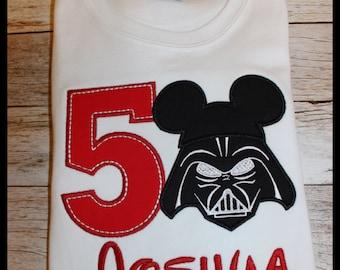 Darth Vader Birthday Shirt ~ Star Wars Shirt ~Darth Vader Shirt ~ Star Wars Birthday ~ Kids Tshirt ~ Star Wars Gift ~Toddler Youth Red Shirt
