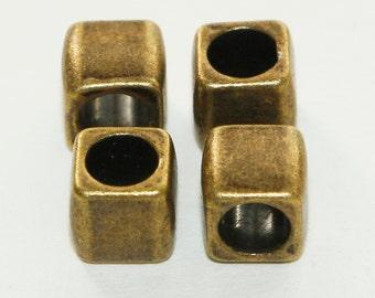 10 Bronze Tone Large Hole Cube Beads 6mm