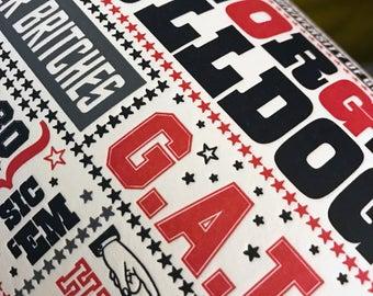 Georgia Football Letterpress Poster