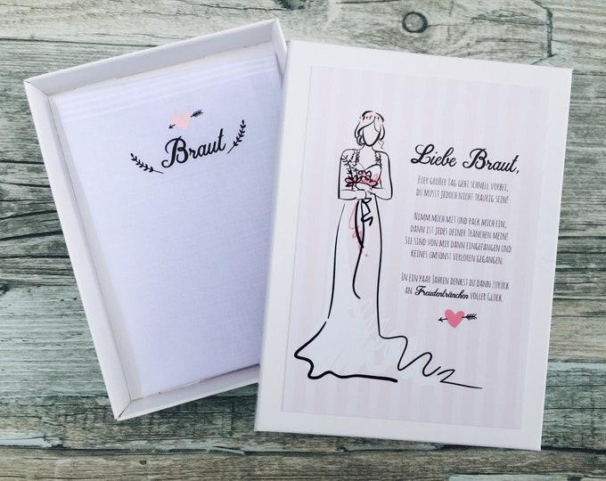 Gift Bridal handkerchief for tears of joy-hen-hen farewell remembrance