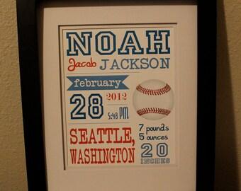 "Customized Baseball Theme Nursery Print - 8""x10"" - LOVELY LITTLE PARTY"