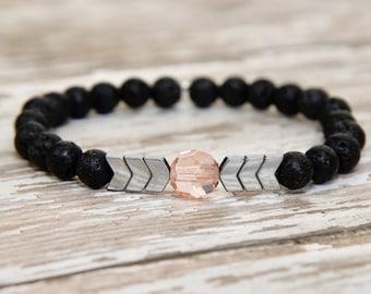 Essential Oil Bracelet, diffuser jewelry, aromatherapy, hematite bracelet, mala bracelet, gifts for her, yoga bracelet, diffuser bracelet