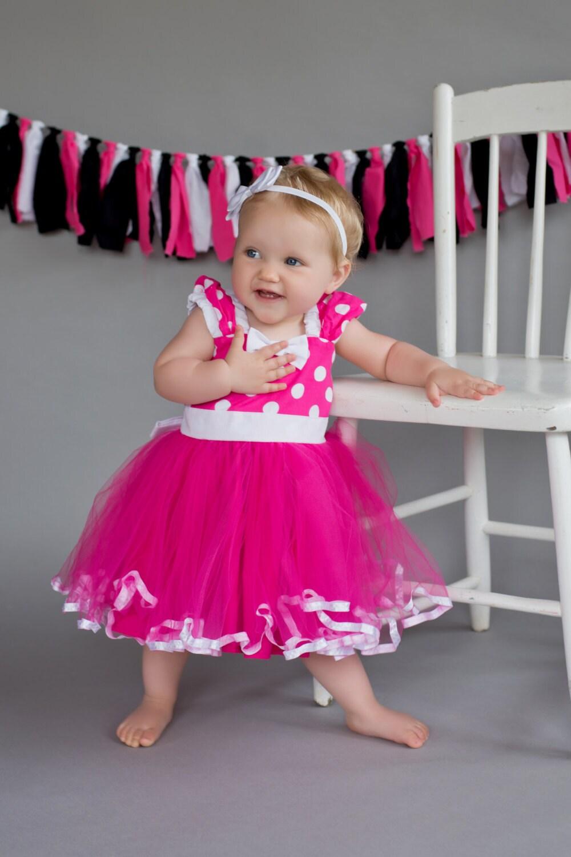 MINNIE MOUSE Kleid TUTU Partykleid in heiße rosa Tupfen super