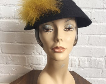 1940s Black Wool Hat // Vintage 1940s Hat with Golden Yellow Feather PomPom // 40s Hat