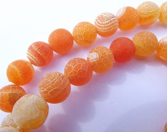 38 smooth round beads in frosted agate orange 10 mm DONI-226