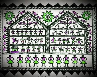 Warli painting etsy warli paintings maharashtra india thecheapjerseys Gallery