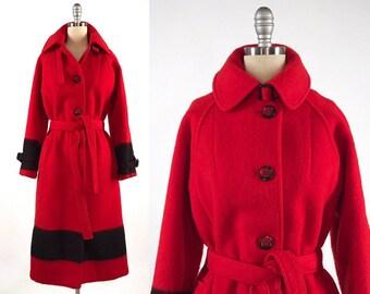 Rare Vintage 1960s Hudson's Bay Point Blanket Coat // 60s Red Wool Blanket Jacket // Victoria HBC Coat // 4 Point Bay Stripes Statement Coat