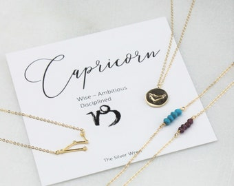 Capricorn Zodiac, January Birthstone Necklace, Gift for Her, January Birthday Gift, Zodiac Capricorn Constellation, Zodiac Jewelry, Gift