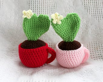 Amigurmi Heart Cactus In a Teacup Plush, Crocheted Plant Plush