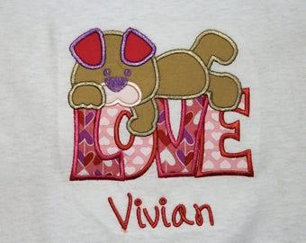 Girl Valentine shirt, Puppy Love shirt,Valentine's Day shirt, Girls Valentine shirt, Toddler girl shirt for Valentines Day, Puppy shirt