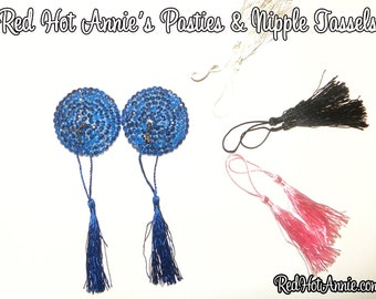 Rhinestone Burlesque Pasties w/Detachable Replaceable Tassels - Blue + (4) Sets Different Colored Tassels