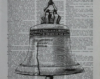 Liberty Bell ~ Authentic Dictionary/Encyclopedia Page Print~Bell ~ America ~ Independence Hall ~Justice ~History ~ American Decor Historical