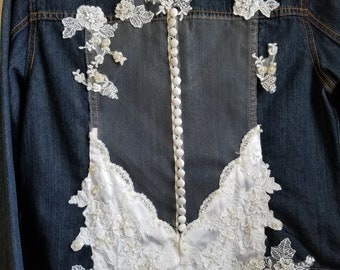 Jean jacket, denim jacket, wedding jacket, wedding dress jacket, embellished jacket, upcycled jacket, ecofashion