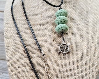 Nautical Charm, Wheel Charm, Essential oils diffuser necklace, Personal Diffuser Jewelry, Aromatherapy Jewelry, Lava stones.