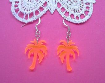 pink and orange perspex palm tree dangle drop earrings