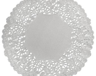Silver Doily | 50 - 12  SILVER Metallic Foil PAPER Lace DOILIES | Silver Anniversary Silver Wedding Placemats Silver Chargers  sc 1 st  Etsy & Silver chargers | Etsy