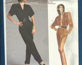 Vogue 1871 Anne Klein Jumpsuit with Dolman Sleeves Rear Buttons Mock Wrap Front Sew in Label Included Size 12 UNCUT
