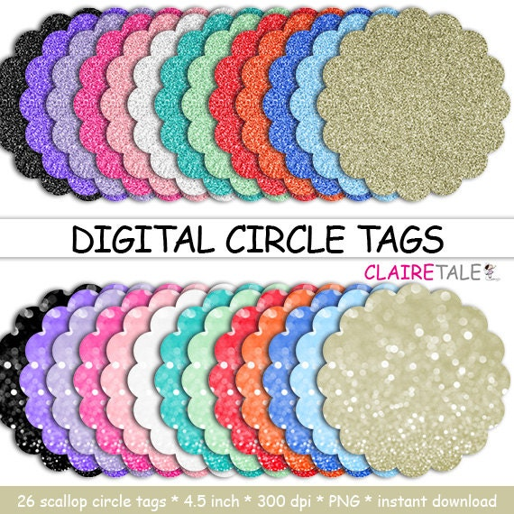 "Digital scalloped circle tags: ""DIGITAL CIRCLE TAGS"" scalloped circle glitter bokeh labels / glitter frames / glitter cake toppers / clipart"